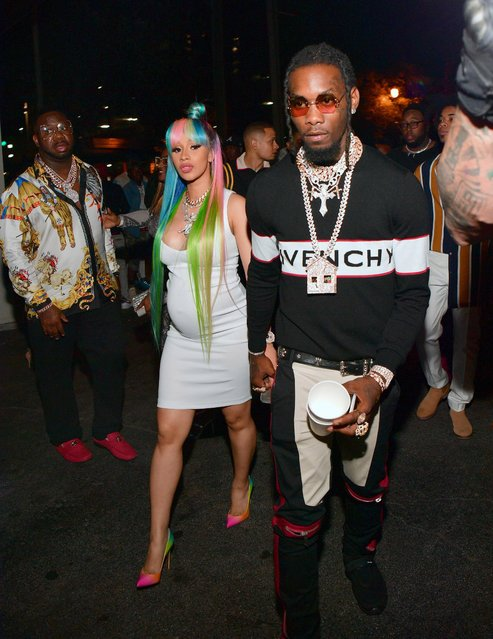 "Cardi B and Offset of The Group Migos attend a Birthday Celebration for Pierre ""Pee"" Thomas at Gold Room on June 7, 2018 in Atlanta, Georgia. (Photo by Prince Williams/WireImage)"