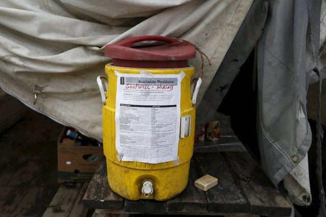 A water cooler is seen at the Nickelsville homeless tent encampment in Seattle, Washington October 13, 2015. (Photo by Shannon Stapleton/Reuters)