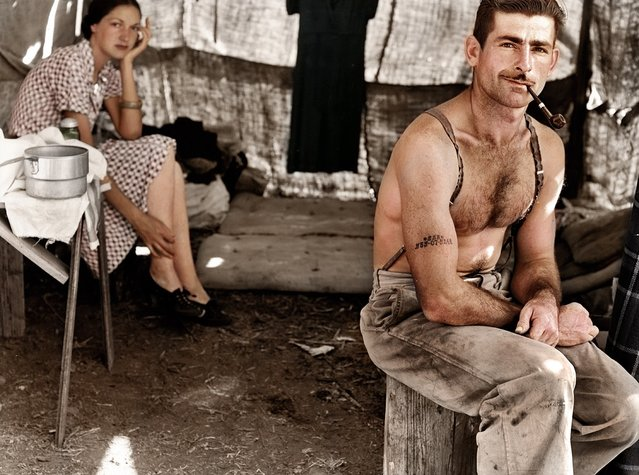 Unemployed lumber worker, USA, circa 1939. Colorized by zuzahin on Reddit.