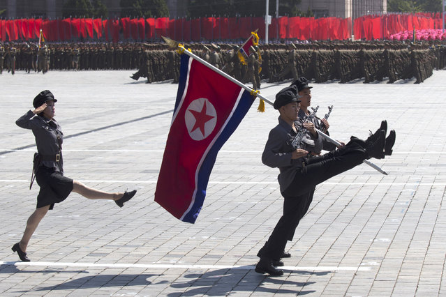 Korean People's Army (KPA) soldiers march during a mass rally on Kim Il Sung square in Pyongyang on September 9, 2018. (Photo by Ng Han Guan/AP Photo)