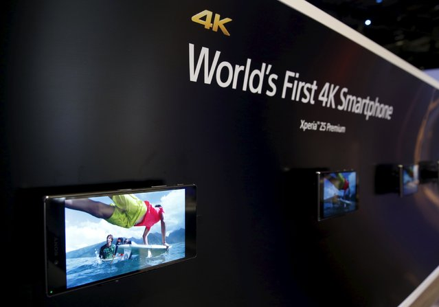 Sony Z5 Premium smart phones are shown in the Sony booth during the 2016 CES trade show in Las Vegas, Nevada January 7, 2016. The phones are the first with a 4K Ultra HD display, a representative said. (Photo by Steve Marcus/Reuters)