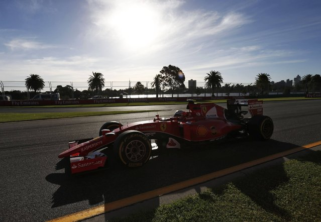 Ferrari Formula One driver Kimi Raikkonen of Finland drives during the second practice session of the Australian F1 Grand Prix at the Albert Park circuit in Melbourne March 13, 2015. REUTERS/Jason Reed