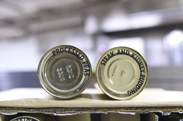 Long-life tins of food are displayed in the kitchens of a former Regional Government HQ Nuclear bunker built by the British government during the Cold War which  has come up for sale in Ballymena, Northern Ireland on February 4, 2016. (Photo by Clodagh Kilcoyne/Reuters)