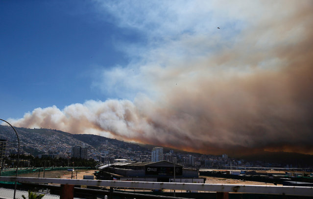 Smoke from a forest fire is seen, where more than 100 homes were burned due to a forest fire but there have been no reports of death, local authorities said in Valparaiso, Chile January 2, 2017. (Photo by Rodrigo Garrido/Reuters)