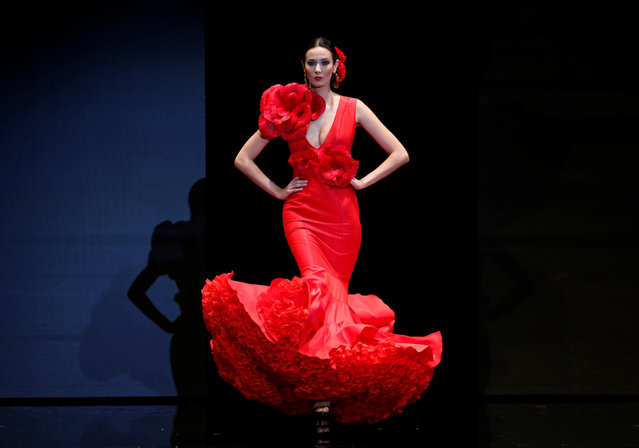 A model presents a creation by Ana Moron during the International Flamenco Fashion Show SIMOF in the Andalusian capital of Seville, Spain February 8, 2019. (Photo by Marcelo del Pozo/Reuters)