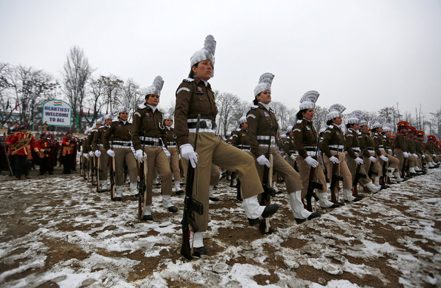 Indian police women attend a full-dress rehearsal for India's Republic Day parade in Srinagar January 24, 2017. (Photo by Danish Ismail/Reuters)