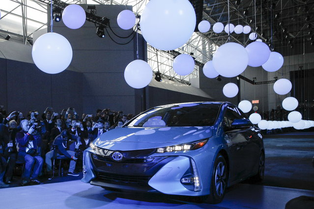 The Toyota Prius Prime is seen during the media preview of the 2016 New York International Auto Show in Manhattan on March 23, 2016. (Photo by Brendan McDermid/Reuters)