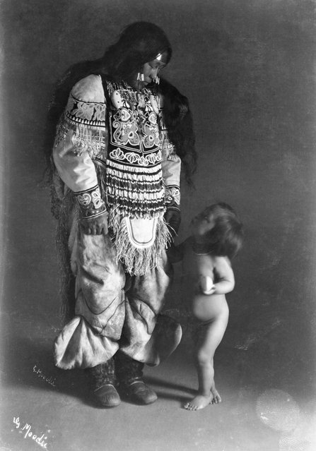 She went on to work further south in the city of Regina, Saskatchewan, and when accompanying John on expeditions for the Canadian Pacific Railway. With hundreds of emotive and lyrical images to her name, her legacy is of a true photographic artist, rather than a dispassionate documenter of rural life. Here: Inuit woman, Ooktook, with child, Fullerton Harbour, Nunavut, c.1904-05. (Photo by Geraldine Moodie/The Guardian)