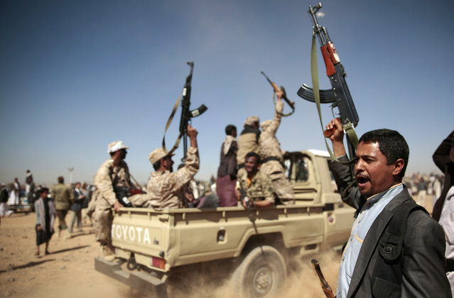 In this January 3, 2017 file photo, tribesmen loyal to Houthi rebels chant slogans during a gathering aimed at mobilizing more fighters into battlefronts to fight pro-government forces, in Sanaa, Yemen. Moroccan government officials said Thursday Feb. 7, 2019 that Morocco has stopped taking part in military action with the Saudi-led coalition in Yemen's war, and has recalled its ambassador to Saudi Arabia. (Photo by Hani Mohammed/AP Photo)