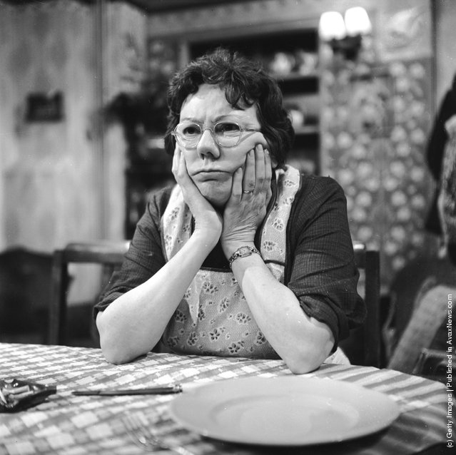 1967: English actress Dandy Nichols during rehearsals for the  television series 'Till Death Us Do Part', where she plays the character of Else Garnett, the wife to Warren Mitchell's Alf Garnett