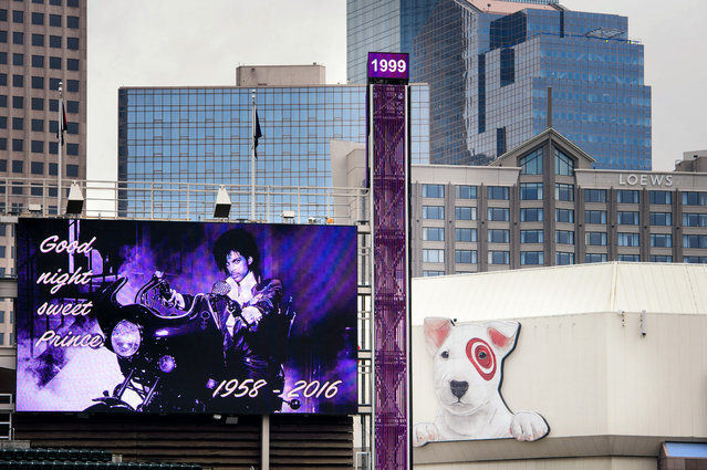 """""""Goodnight Sweet Prince"""" read the display screens in Target Field in Minneapolis, Minn., Thursday, April 26, 2016, following the announcement of Prince's death.  Prince, widely acclaimed as one of the most inventive and influential musicians of his era with hits including """"Little Red Corvette"""", """"Let's Go Crazy"""" and """"When Doves Cry"""", was found dead at his home on Thursday, according to his publicist. He was 57. (Photo by Glen Stubbe/Star Tribune via AP Photo)"""