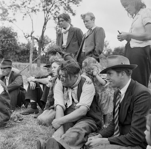 A group of Romany people at an encampment at Corke's Meadow in Kent, July 1951. (Photo by Bert Hardy/Picture Post/Hulton Archive/Getty Images)