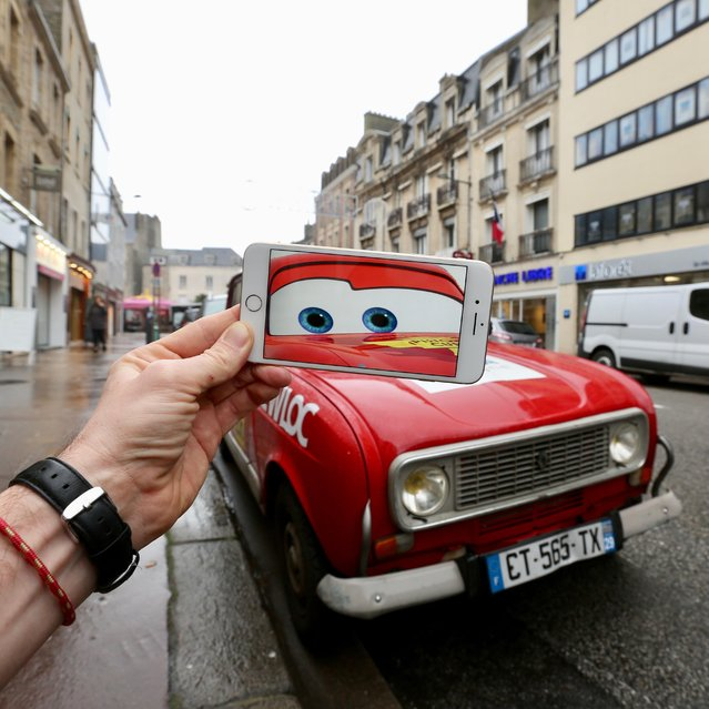"""An amateur artist has created a series of hilarious images combining iconic film scenes with everyday locations all over the world. History teacher Francois Dourlen, from Cherbourg in France, has used stills of pop culture everything – from cult movies to old faithful TV favorites like The Simpsons and Baywatch, to new hits Minions – to bring this unique artwork to life. """"(The first picture) was originally just a joke for my friends"""", Dourlen said. """"A lot of them liked it, so I did another…and a lot of people liked it! So I did another, and another"""". (Photo by Francois Dourlen/Exclusivepix Media)"""