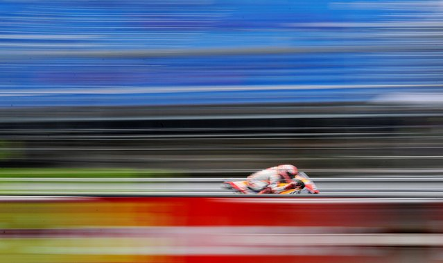 Winner Repsol Honda Team's Spanish rider Marc Marquez competes during the Moto GP Czech Grand Prix in Brno on August 4, 2019. (Photo by David W. Cerny/Reuters)