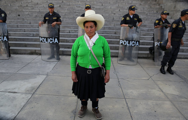 Peruvian farmer Maxima Acuna from northern Peruvian highlands of Cajamarca, leaves the Supreme Court during her trial against the Yanacocha copper and gold mine, at the Palace of Justice in Lima, Peru April 12, 2017. (Photo by Mariana Bazo/Reuters)