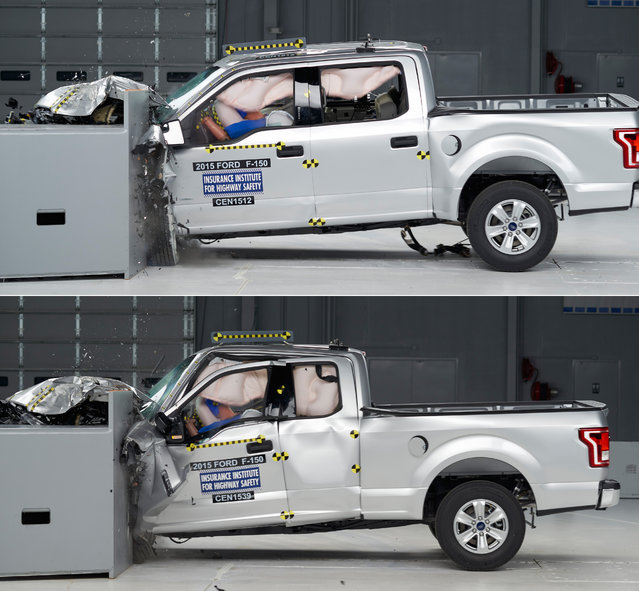 This combination made from 2015 photos provided by the Insurance Institute for Highway Safety (IIHS) shows crash tests of 2015 Ford F-150 Super Crew, top, and Super Cab pickup trucks. The four-door Super Crew got top ratings in all five of the crash tests. But the Super Cab version, which has a smaller rear door and back seat, did poorly in a small front overlap test, which slams 25 percent of the front of the truck into a barrier at 40 miles per hour. (Photo by Insurance Institute for Highway Safety via AP Photo)