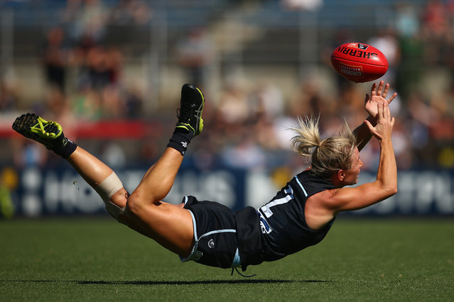 Katie Loynes of the Blues attempts to mark the ball during the AFLW Preliminary Final match between the Carlton Blues and the Fremantle Dockers at Ikon Park on March 23, 2019 in Melbourne, Australia. (Photo by Mike Owen/Getty Images)