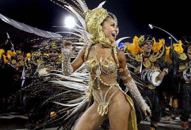 Brazilian comedian Sabrina Sato performs during the parade of the Gavioes da Fiel samba school in Sao Paulo