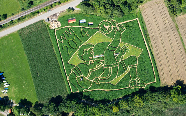 An aerial view taken on July 15, 2014 shows a field in football-design in Uttig, southern Germany. (Photo by Peter Kneffel/AFP Photo/DPA)