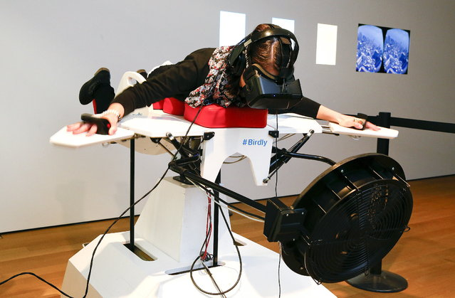 """A visitor tries the flight simulator Birdly at the exhibition """"Animated Wonderworlds"""" at Museum fuer Gestaltung (Museum for Design) in Zurich, November 17, 2015. Birdly simulates the flight of a red kite over New York City, controlled by the entire body of the user. The flight simulator was developed by scientists at Zurich University of the Arts. (Photo by Arnd Wiegmann/Reuters)"""