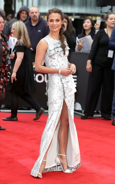 """Alicia Vikander attends the """"Jason Bourne"""" European premiere at the Odeon Leicester Square on July 11, 2016 in London, England. (Photo by Chris Jackson/Getty Images)"""