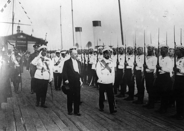 French president Raymond Poincare (1860–1934) inspecting a Russian Naval guard of honour with Tsar Nicholas II (1868–1918) during his official visit to Russia, July 1914.