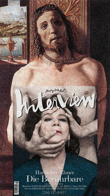 Quirky Magazine covers: Interview and Christ. (Photo by Eisen Bernard Bernardo/Caters News)