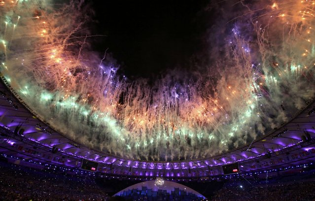 2016 Rio Olympics, Opening ceremony, Maracana, Rio de Janeiro, Brazil on August 5, 2016. Fireworks erupt during the opening ceremony. (Photo by Damir Sagolj/Reuters)