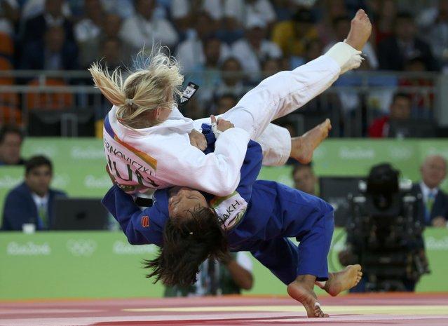 2016 Rio Olympics, Judo, Women, 48 kg Repechage Contests, Carioca Arena 2, Rio de Janeiro, Brazil on August 6, 2016. Eva Csernoviczki (HUN) of Hungary and Otgontsetseg Galbadrakh (KAZ) of Kazakhstan compete. (Photo by Toru Hanai/Reuters)