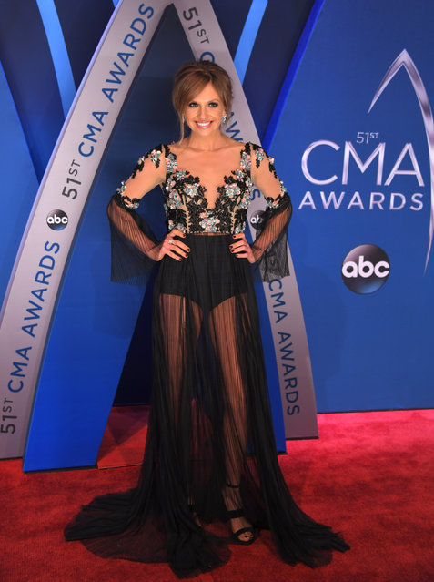 Singer Carly Pearce pose in the press room at the 51st annual CMA Awards at the Bridgestone Arena on Wednesday, November 8, 2017, in Nashville, Tennessee. (Photo by Harrison McClary/Reuters)