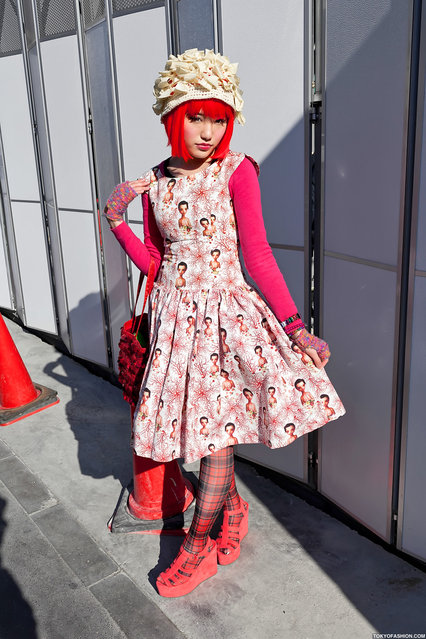 Mark Ryden Dress, Harajuku. I've been street snapping Mitake for a couple of years now & her fashion is always exceptional. She's wearing a dress featuring the artwork of Mark Ryden in this photo. (Tokyo Fashion)