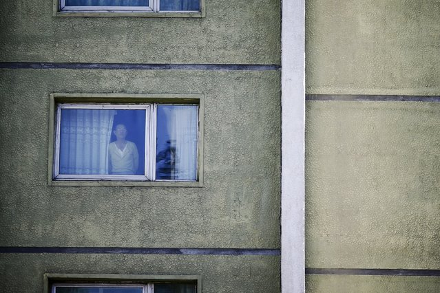 A man looks through the window in central Pyongyang, North Korea early, October 9, 2015. (Photo by Damir Sagolj/Reuters)