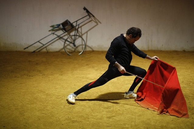"Spanish bullfighter Rafael Tejada performs a pass with a ""muleta"" (red cape) during a training session on the training arena at Reservatauro Ronda cattle ranch in Ronda, near Malaga February 12, 2013. Spain's parliament voted on Tuesday to consider protecting bullfighting as a national pastime, angering animal rights campaigners and politicians in two regions where the sport is banned. (Photo by Jon Nazca/Reuters)"