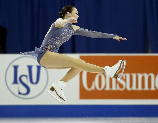 Mariah Bell of the U.S. performs during the ladies singles short program at the Skate America figure skating competition in Milwaukee, Wisconsin October 23, 2015. (Photo by Lucy Nicholson/Reuters)