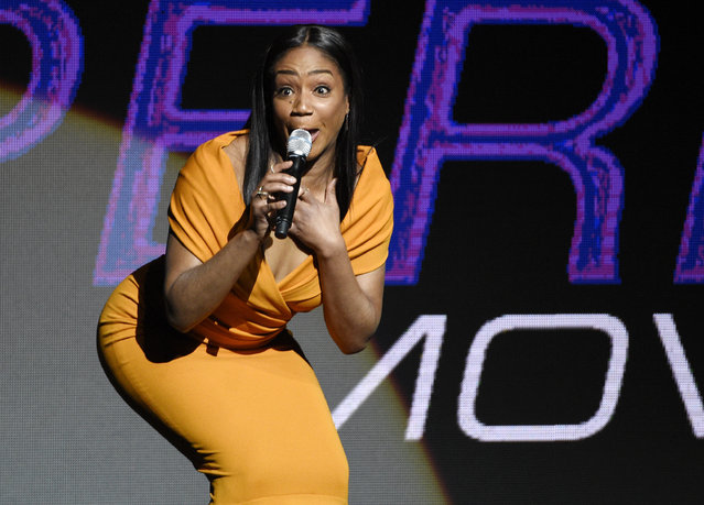 Tiffany Haddish, a cast member in an untitled upcoming movie directed by Tyler Perry, addresses the audience during the Paramount Pictures presentation at CinemaCon 2018, the official convention of the National Association of Theatre Owners, at Caesars Palace on Wednesday, April 25, 2018, in Las Vegas. (Photo by Chris Pizzello/Invision/AP Photo)