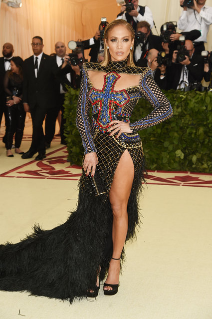 Jennifer Lopez attends the Heavenly Bodies: Fashion & The Catholic Imagination Costume Institute Gala at The Metropolitan Museum of Art on May 7, 2018 in New York City. (Photo by Jamie McCarthy/Getty Images)