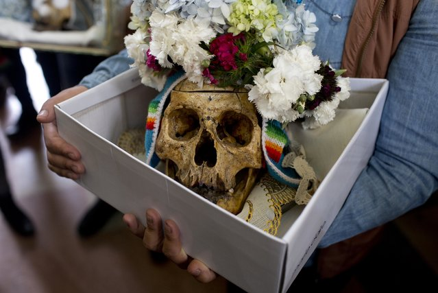 """A woman holds a box with a decorated human skull as she waits to be greeted by the priest inside the Cementerio General chapel, during the Natitas Festival celebrations, in La Paz, Bolivia, Tuesday, November 8, 2016. Hundreds of Bolivians have carried human skulls adorned with flowers to a cemetery in the capital city of La Paz, asking for health, money, love and other favors. The devotees brought the skulls known as """"natitas"""" for a short Mass at the cemetery Tuesday. They later played music, danced and lit candles. Others took 67 skulls into a home in La Paz as part of the ritual celebrated annually a week after the Day of the Dead. The Roman Catholic Church considers the skull festival to be pagan, but it doesn't ban people from taking part. The festival is a mix of Andean ancestral worship and Catholic beliefs. Experts say it was common in pre-Columbian times to keep skulls as trophies and display them to symbolize death and rebirth. (Photo by Juan Karita/AP Photo)"""