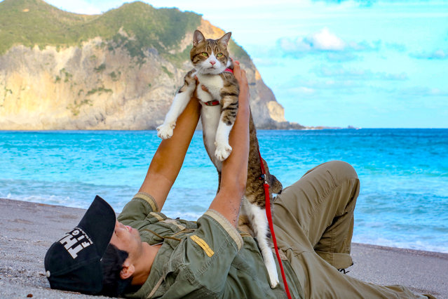 Daisuke Nagasawa lays with his Cat Daikichi on a beautiful Japanese beach. (Photo by Daisuke Nagasawa/Caters News Agency)