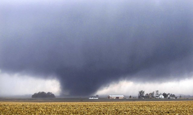 A tornado moves northeast two miles west of Flatville, Ill., on November 17, 2013. The tornado damaged many farm buildings and homes on its way to Gifford, Ill., where scores of houses were devastated.  (Photo by Jessie Starkey/News-Gazette0