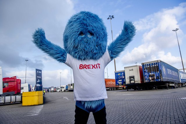 """""""The Brexit Beast"""" performs before handing out flyers  to truck drivers at the terminal of a ferry operator in the port of Rotterdam, The Netherlands, 01 December 2020, as part of the Get Ready For Brexit campaign. As a result of UK leaving the EU there will be old-fashioned border controls and customs formalities again between the United Kingdom and the Netherlands from 01 January 2021 on. (Photo by Robin Utrecht/EPA/EFE)"""