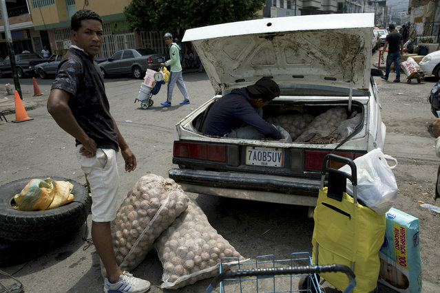 A man loads his car with potatoes bought in Colombia, in San Antonio del Tachira, Venezuela, on the border with Colombia, Thursday, February 21, 2019. (Photo by Rodrigo Abd/AP Photo)