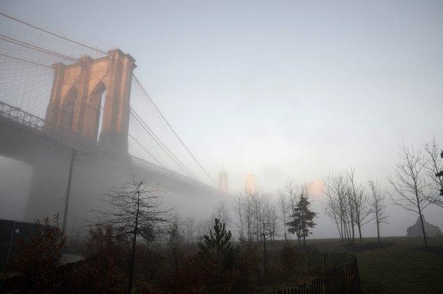 The Brooklyn Bridge surrounded by fog from Brooklyn Bridge Park, Brooklyn, New York, USA, 15 January 2014. (Photo by Andrew Gombert/EPA)