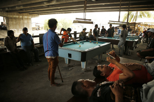 Indonesian public transport drivers play billiards under a highway toll road at a slum area in Jakarta, January 19, 2016. (Photo by Reuters/Beawiharta)