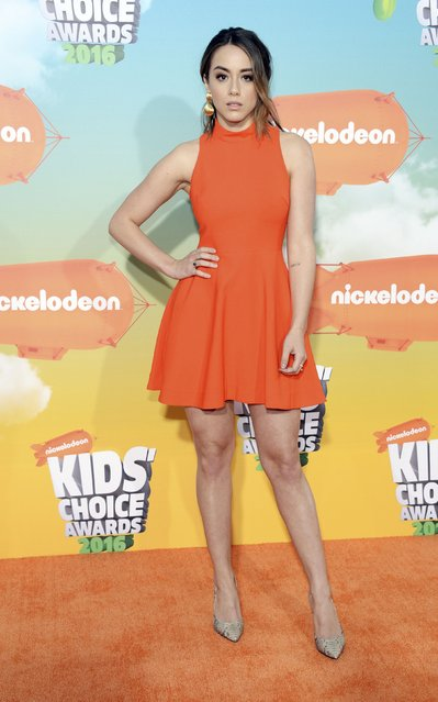 Actress Chloe Bennet arrives at Nickelodeon's Kids' Choice Awards in Inglewood, California March 12, 2016. (Photo by Phil McCarten/Reuters)