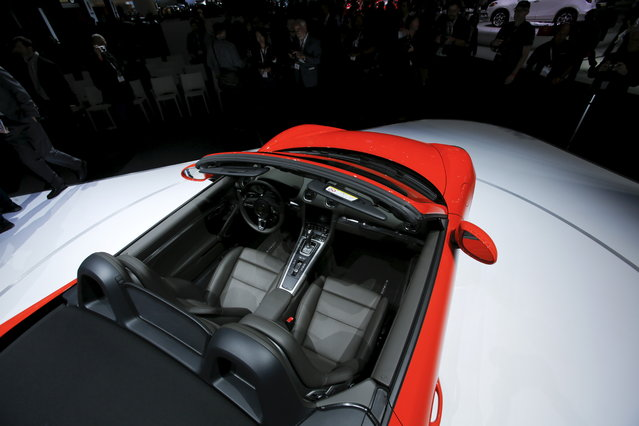 The Porsche 718 Boxster S is seen during the 2016 New York International Auto Show media preview in Manhattan on March 23, 2016. (Photo by Eduardo Munoz/Reuters)