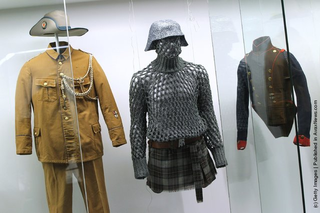 Uniforms and a military-inspired outfit designed by Vivienne Westwood