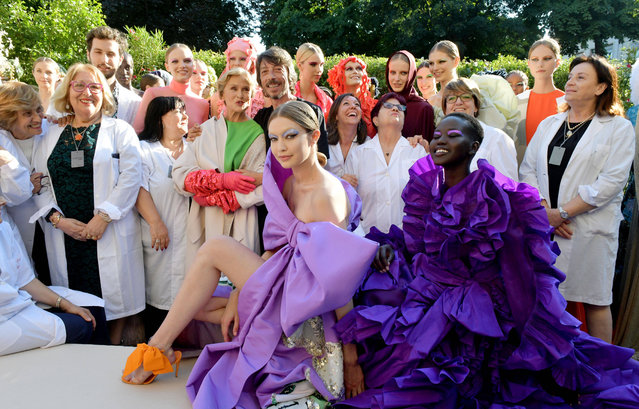 Gigi Hadid and models on the catwalk Valentino show, Runway, Fall Winter 2019, Haute Couture Fashion Week in Paris, France on July 3, 2019. (Photo by Swan Gallet/WWD/Rex Features/Shutterstock)