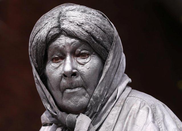 "An artist called ""Granny"" takes part in the festival ""Statues en Marche"" in Marche-en-Famenne, Belgium, July 20, 2019. (Photo by Yves Herman/Reuters)"