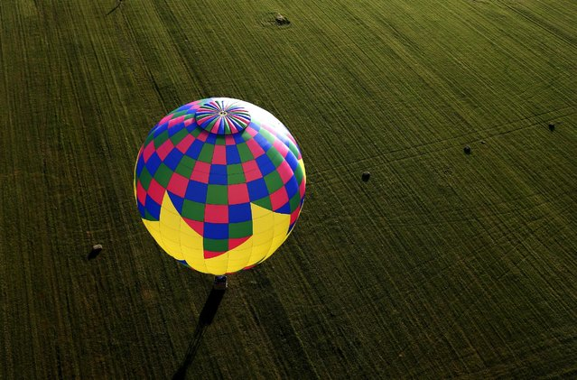 A hot air balloon comes to rest in a farm field, as seen from a flying balloon just after sunrise on day one of the 2015 New Jersey Festival of Ballooning in Readington, New Jersey, July 24, 2015. (Photo by Mike Segar/Reuters)