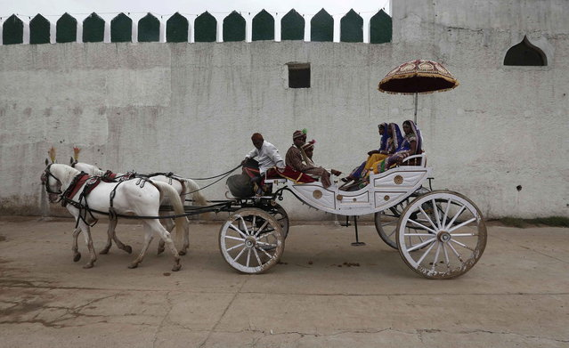 Brides and grooms arrive in a horse cart to attend a mass wedding ceremony at Ramlila ground in New Delhi June 15, 2014. A total of 92 physically challenged couples of all religions from across India took their wedding vows on Sunday during the mass wedding ceremony organised by a non-governmental organisation (NGO), organisers said. (Photo by Adnan Abidi/Reuters)
